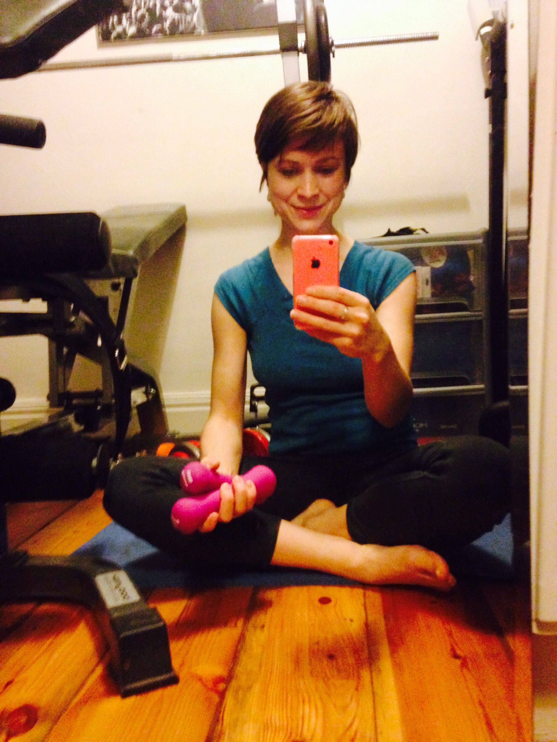 Photograph of women with diastasis recti after finshing Pilates exercise at home