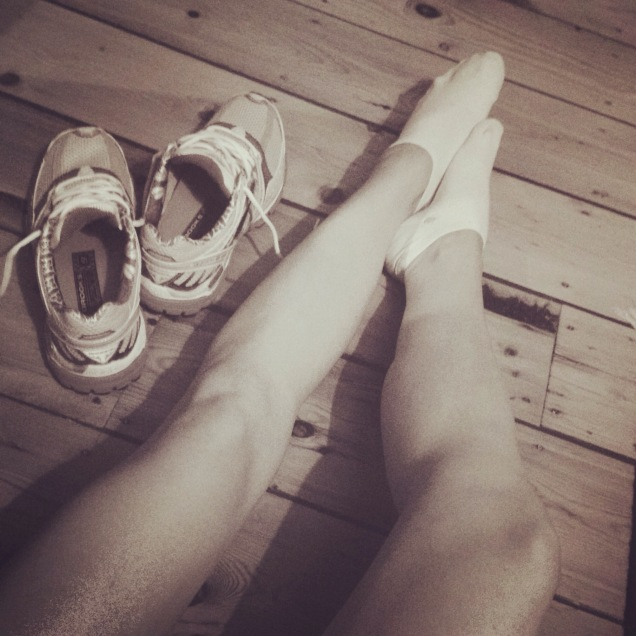 Picuture of legs and trainers of runner after baby